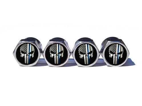 Punisher Police Blue Line Valve Caps - Copper, Chrome Coated