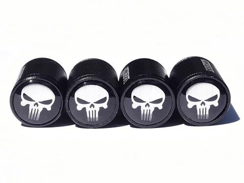 White Punisher Tire Valve Caps - Aluminum, Black Coated
