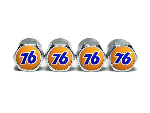 76 Fuel Logo Tire Valve Caps - Copper, Chrome Coated
