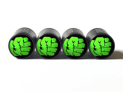 Hulk Fist Tire Valve Caps - Aluminum, Black Coated