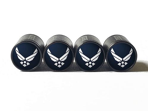 US Air Force Tire Valve Caps - Aluminum, Black Coated
