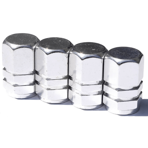 Silver Aluminum Hex Style Tire Valve Caps - Universal