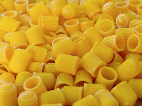 Yellow Plastic Tire Valve Caps - Universal