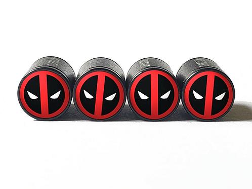 Deadpool Tire Valve Caps - Aluminum, Black Coated