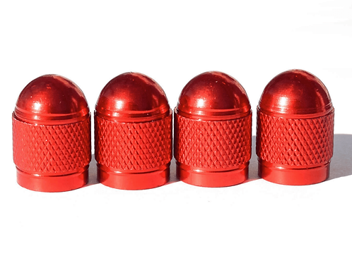 Red Bullet Style Tire Valve Caps - Universal