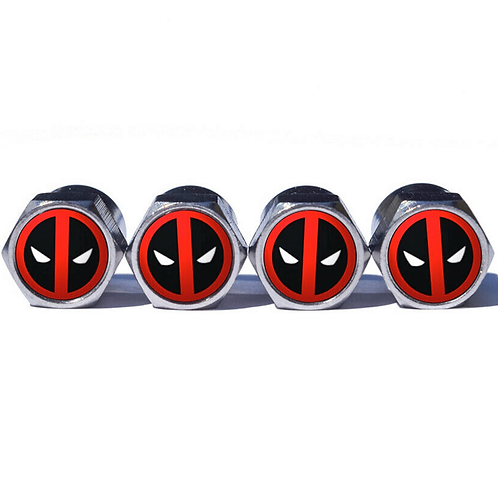 Deadpool Tire Valve Caps - Copper, Chrome Coated
