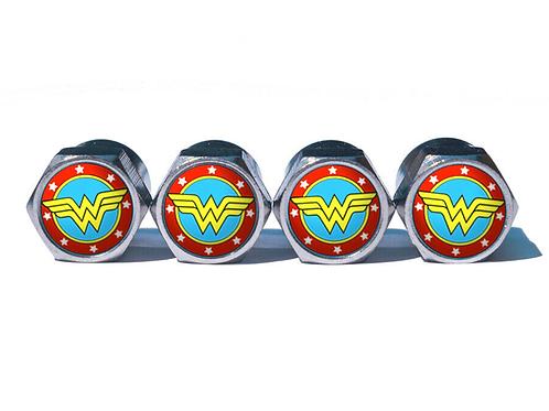 Wonder Woman Tire Valve Caps (style 2) - Copper, Chrome Coated