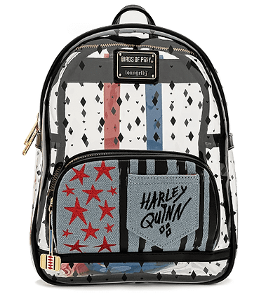 Loungefly X Birds of Prey Harley Quinn Clear Pvc Mini Backpack