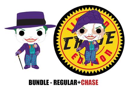 Funko Pop - DC - Batman 1989 - Joker w/Hat Bundle Regular + Chase
