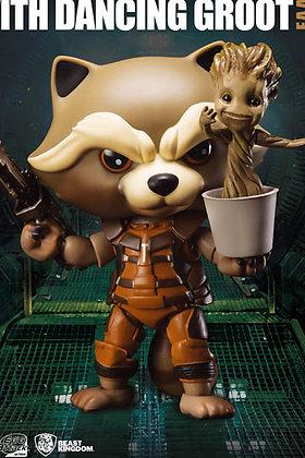 Action Figure - Marvel - Rocket Raccoon con Dancing Groot Egg Attack 10 cm AF