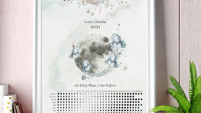 2021 Southern Hemisphere  Vertical Moon Calendar
