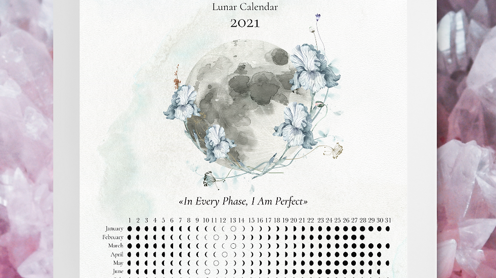 2021 North Hemisphere Vertical Moon Calendar