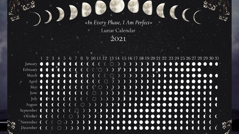 Northern Hemisphere Drk Moon Calendar