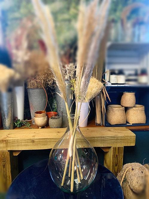 Round Bottleneck Glass Vase