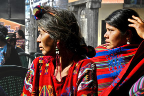 Two women from Chajul at the last Rios Montt trial in Nebaj