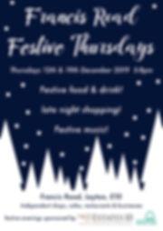 Francis Road Festive Evening flyer A6 fr