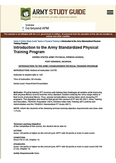 Introduction to the Army Standardized Ph
