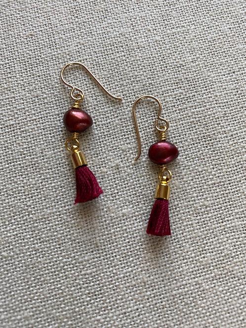 Red Freshwater Pearls | Mini Red Tassels