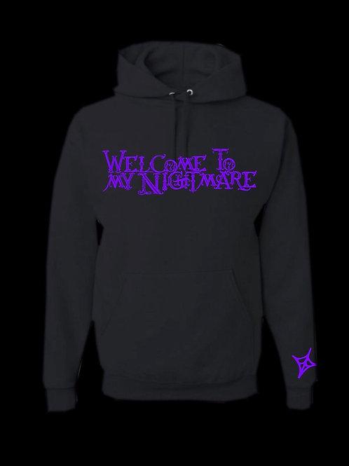 Welcome To My Nightmare Hoodie- Black/Purple