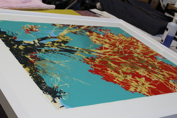 Screenprint Red Leaves