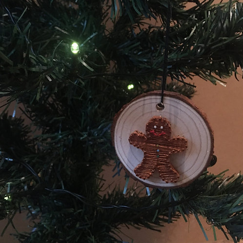 Mini Wood Slice Xmas Decoration - Gingerbread Man