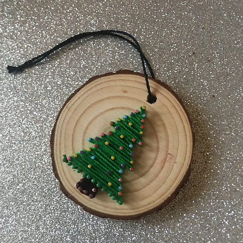 3 For £5.00 -Mini Wood Slice Xmas Decorations