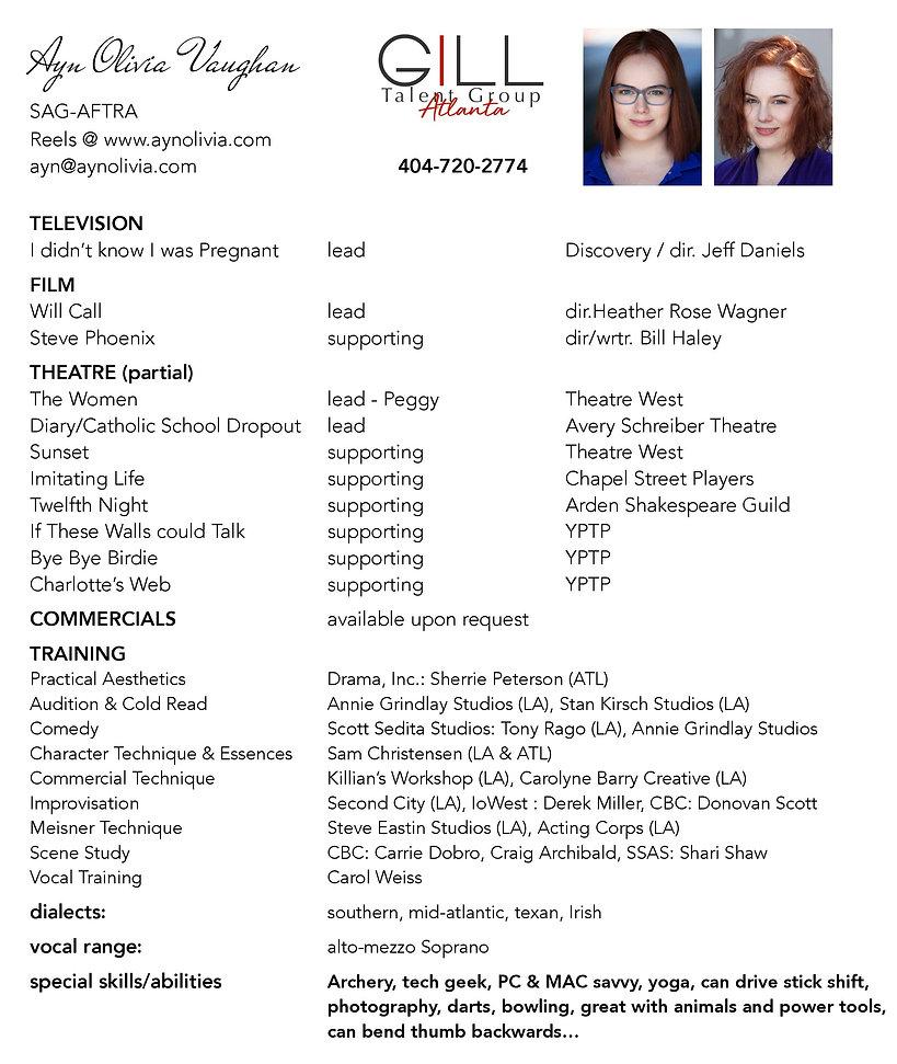 Ayn Olivia Vaughan Resume