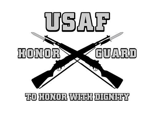 """USAFHG 5"""" DIE CUT WINDOW DECAL IN SILVER & BLACK"""