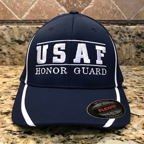 USAFHG NAVY FITTED HAT TRIMMED IN WHITE & GREY