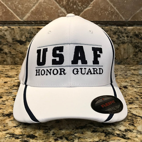 USAFHG WHITE FITTED HAT TRIMMED IN NAVY & GREY