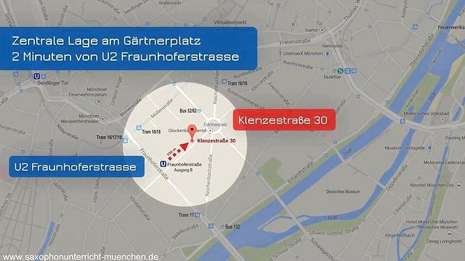 Karte Saxophonunterricht München Saxophonlehrer Michael Sowieja Eingang 1. Hinterhof