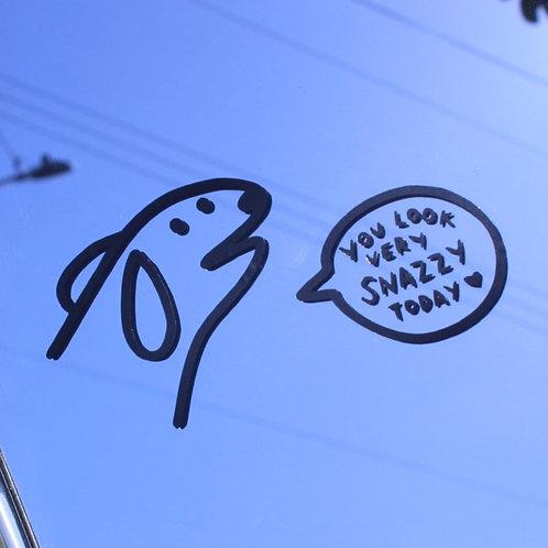 Snazzy Dog Vinyl Mirror Sticker