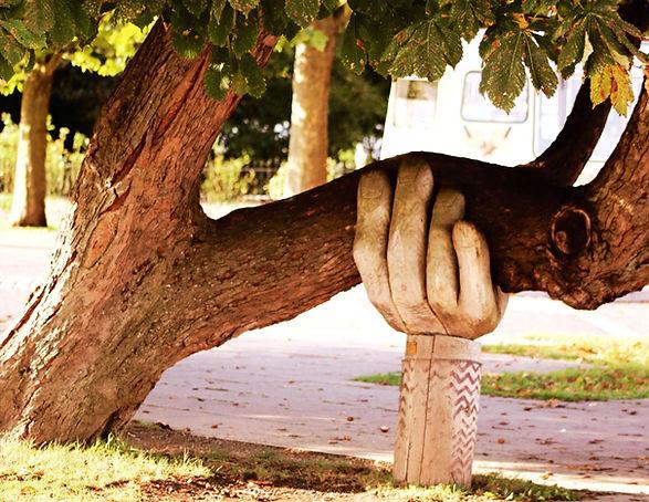 Hand stützt Baum