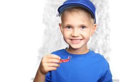 Orthodontics, little boy with braces