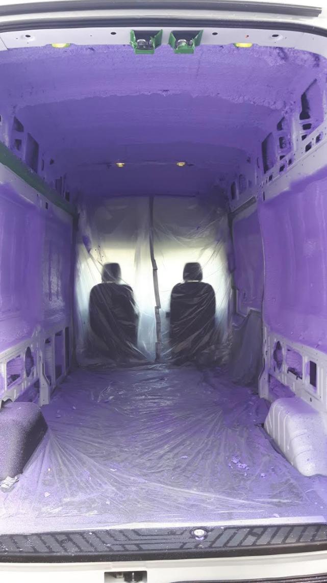 Inside a cargo van