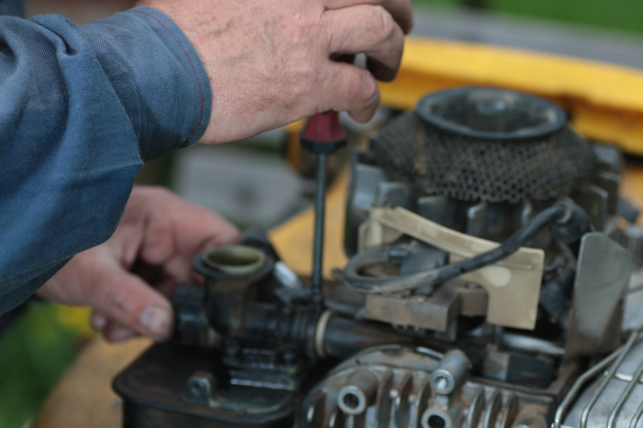 Repairing lawn mower engine
