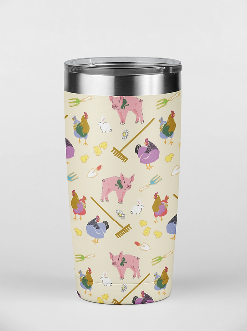 Fluffy Layers Springtime on the  Farm Tumbler, Travel Mug 20oz, Mug