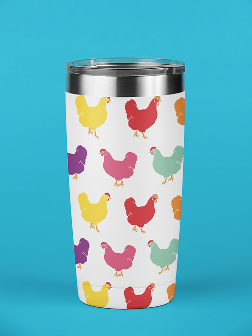 Fluffy Layers Rainbow Hens Tumbler, Travel Mug 20oz, Mug
