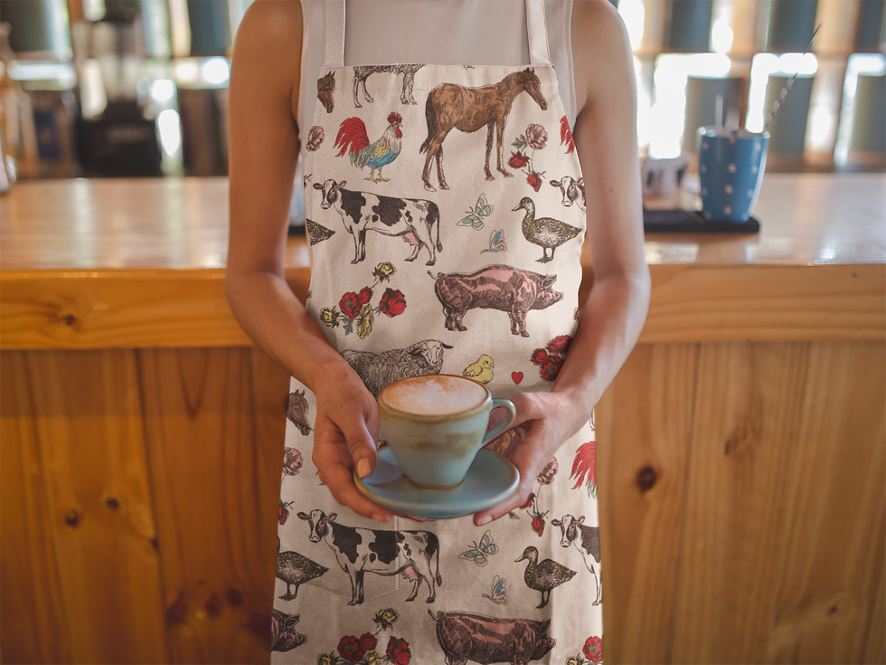 fluffy layers apron with farm animals