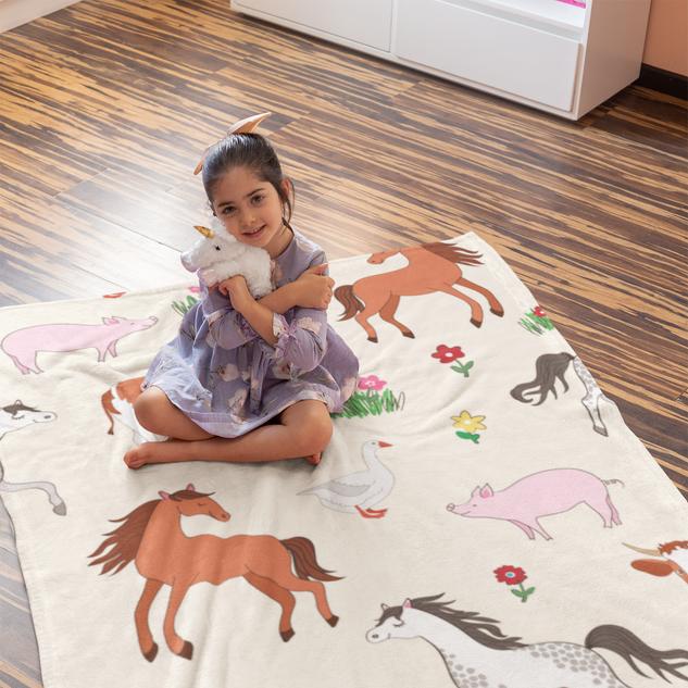 Blanket with Farm Animals