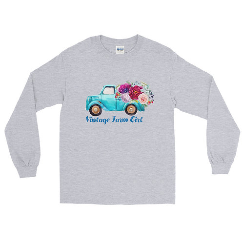 "Fluffy Layers ""Vintage Farm Girl blue truck"" Long Sleeve Shirt"