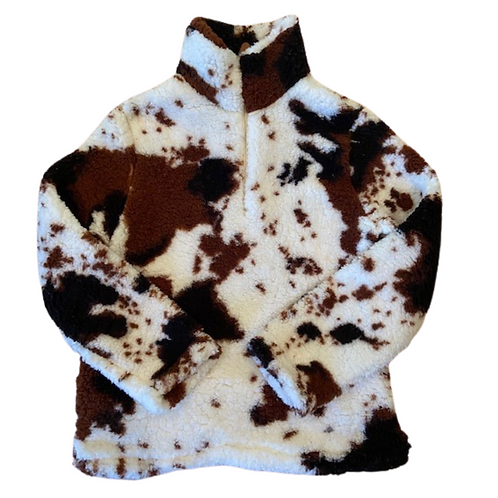 Fluffy Layers Kids Sherpa - Southwest Tricolor-Cow Print Sherpa, Cow Hi