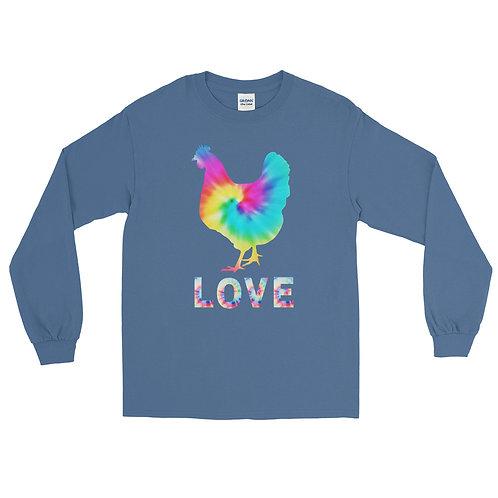 "Fluffy Layers Tie Dye Hen ""LOVE""  Long Sleeve Shirt"