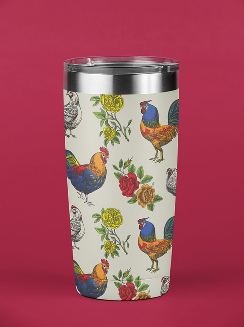 Fluffy Layers Rooster and Roses Tumbler, Travel Mug 20oz, Mug