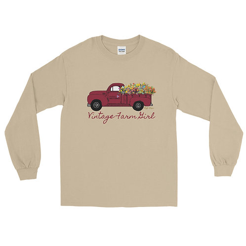 Fluffy Layers Vintage Farm Girl ( red truck) Long Sleeve Shirt