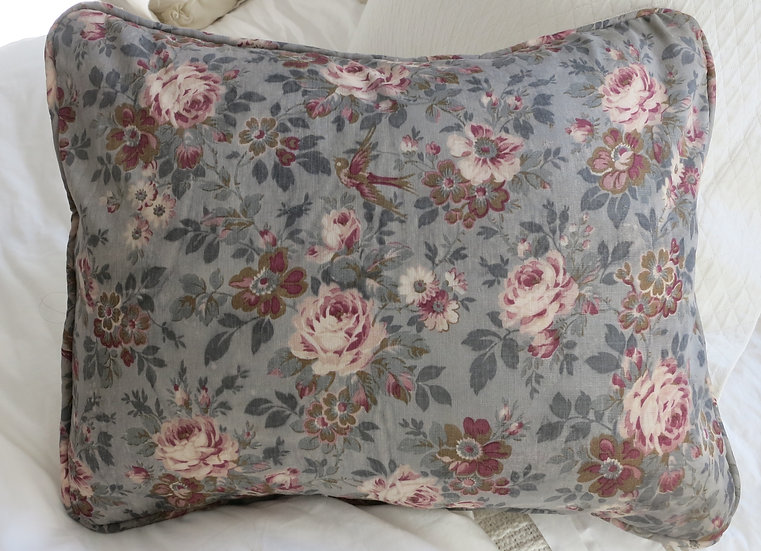 Antique French Floral and Homespun Linen Pillow