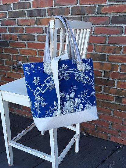 Blue Floral & Home Spun Linen Martha Bag