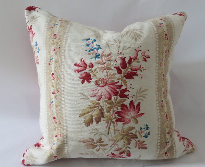 19th Century French Floral & Homespun Linen kelsch Pillow