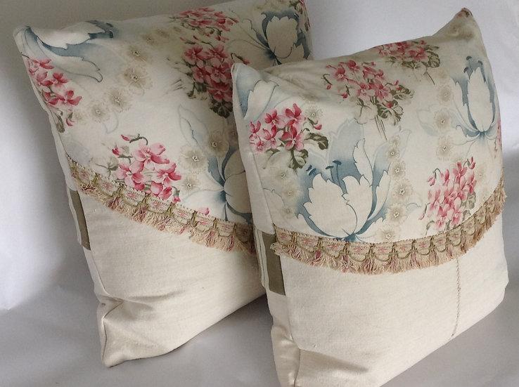Pair French Printed Cotton & Homespun Linen Pillows