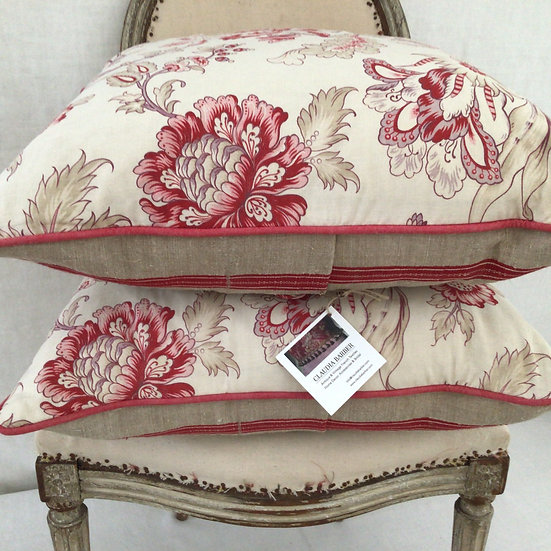 Antique French Indienne and Linen Pillow